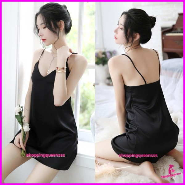Black Sling Low-Cut Satin Dress + G-String Sleepwear Nightwear Pyjamas Sexy Lingerie H7058