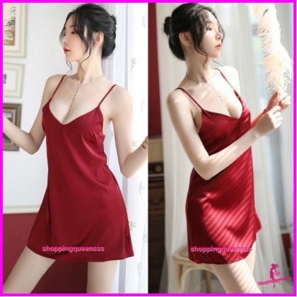 Sexy Lingerie Red Sling Low-Cut Satin Dress + G-String Sleepwear H7058