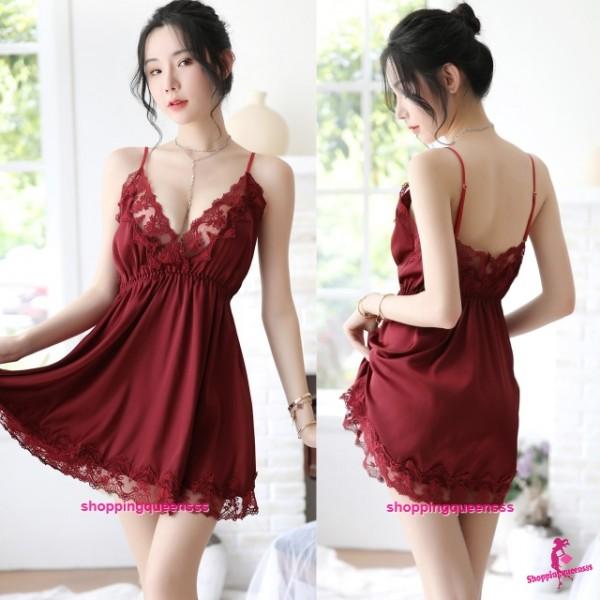 Burgundy Lace Low-Cut Satin Dress + G-String Sleepwear Nightwear Pyjamas Sexy Lingerie H7059