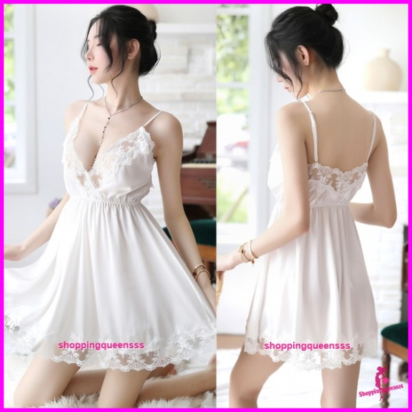 White Lace Low-Cut Satin Dress + G-String Sleepwear Nightwear Pyjamas Sexy Lingerie H7059