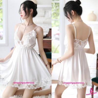 White Lace Low-Cut Satin Dress + G-String Sleepwear Nightwear Pyjamas Sexy Lingerie H7059