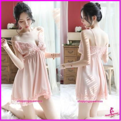 Sexy Lingerie Lace Apricot Low-Cut Satin Dress + G-String Sleepwear H7059