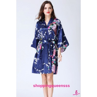 Sexy Lingerie Dark Blue Japanese Kimono Robes Sleepwear Nightwear Pyjamas KQ-1