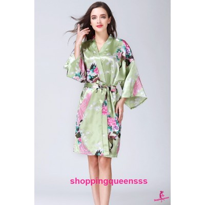 Sexy Lingerie Green Japanese Kimono Robes Women Sleepwear Nightwear KQ-1