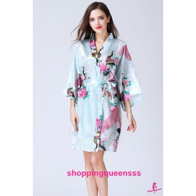 Sexy Lingerie Light Blue Japanese Kimono Robes Sleepwear Pyjamas Nightwear KQ-1