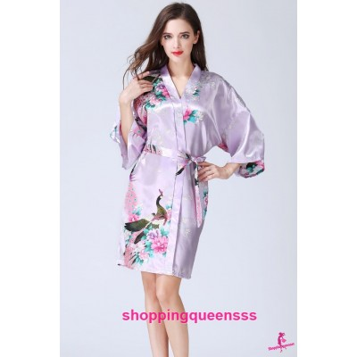 Sexy Lingerie Light Purple Japanese Kimono Robes Women Sleepwear Nightwear KQ-1