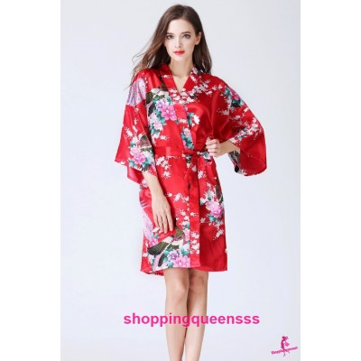 Sexy Lingerie Red Japanese Kimono Robes Women Sleepwear Pyjamas KQ-1