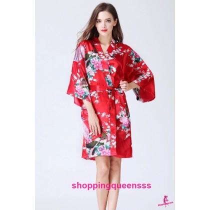 Sexy Lingerie Red Japanese Kimono Robes Sleepwear KQ-1