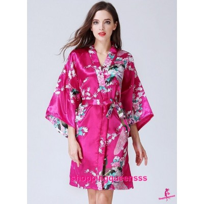 Sexy Lingerie Rose Red Japanese Kimono Robes Women Sleepwear Nightwear KQ-1
