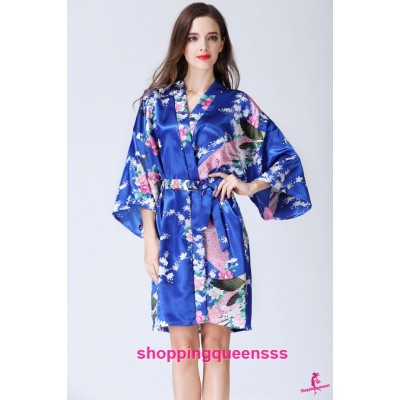 Sexy Lingerie Royal Blue Japanese Kimono Robes Women Sleepwear Nightwear KQ-1
