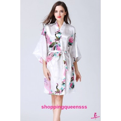 Sexy Lingerie White Japanese Kimono Robes Women Sleepwear Nightwear KQ-1