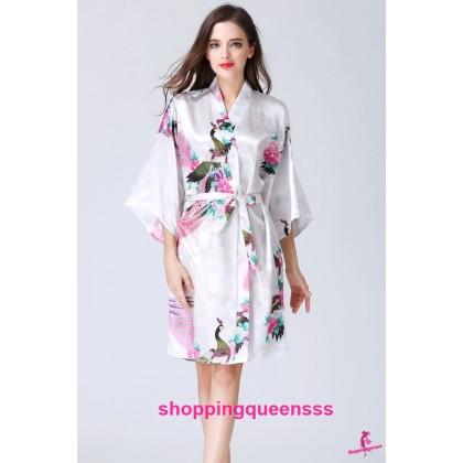 Sexy Lingerie White Japanese Kimono Robes Sleepwear KQ-1