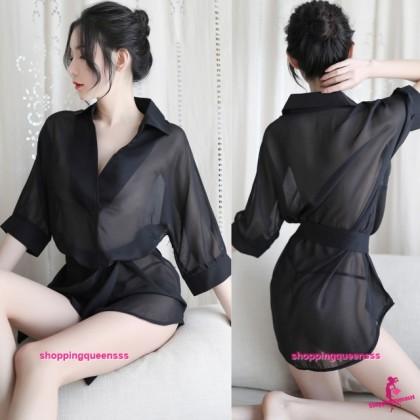 Black Transparent Dress + G-String Sleepwear Pyjamas Sexy Lingerie H7060