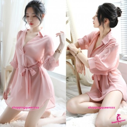 Lotus Root Starch Transparent Dress + G-String Sleepwear Nightwear Sexy Lingerie H7060