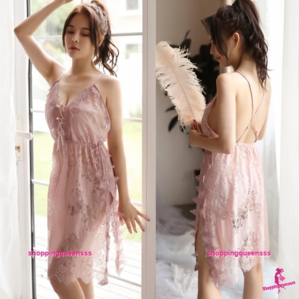 Sexy Lingerie Lotus Root Starch Lace Babydoll Dress + G-String Sleepwear H7062