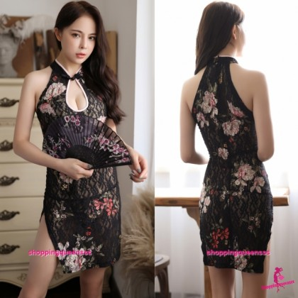 Black Lace Colorful Flowers Cheongsam Dress + G-String Costume Sleepwear Sexy Lingerie H7063