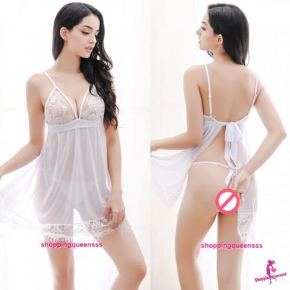 White Lace Low-Cut Open Butt Babydoll Dress + G-String Sleepwear Sexy Lingerie M599