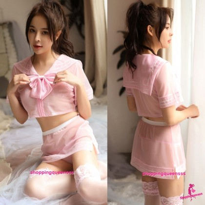 Pink Student Uniform School Girl Dress Costume Sexy Lingerie H7070
