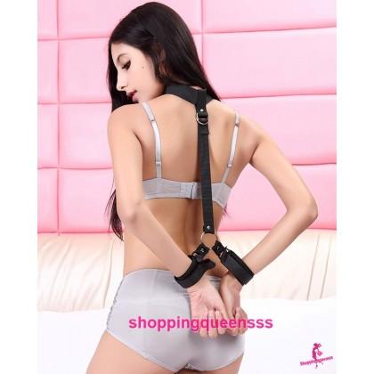 Black Neck and Back Handcuffs SM Bondage Restraints Sex Toys for Couple Adult Games SAH-3