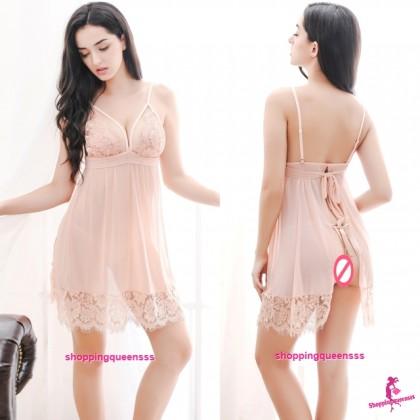Beige Lace Low-Cut Open Butt Babydoll Dress + G-String Sleepwear Sexy Lingerie M599