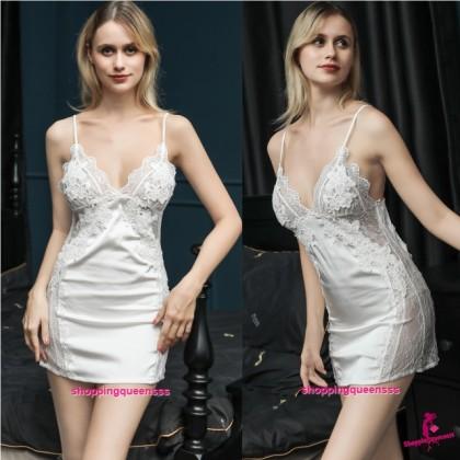 Sexy Lingerie White Lace Low-Cut Satin Dress + G-String Sleepwear Nightwear TS1137