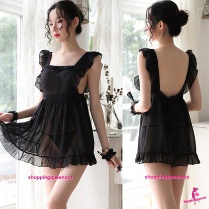 Black Fancy Maid Dress + G-String Cosplay Costume Sleepwear Sexy Lingerie H7090