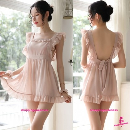 Skin-Color Fancy Maid Dress + G-String Cosplay Costume Sleepwear Sexy Lingerie H7090
