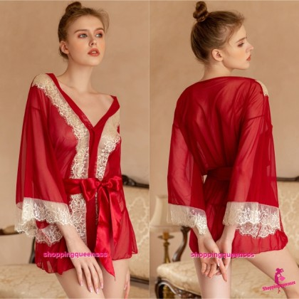 Red Lace See Through Robes + G-String Sleepwear Pajamas Sexy Lingerie TS16016