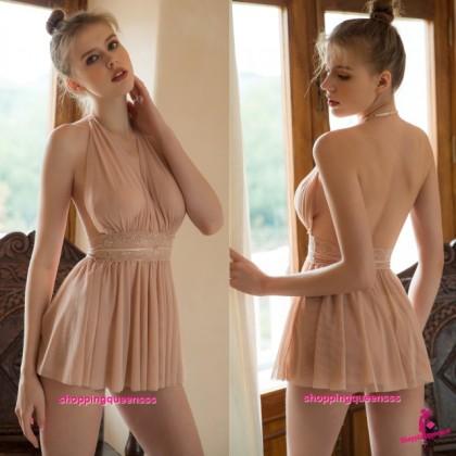 Skin-Color Halter Backless Babydoll Dress Sleepwear Nightwear Sexy Lingerie TS1141