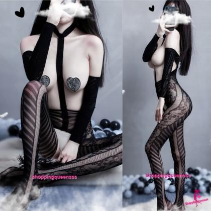 Sexy Lingerie Black Open Breast Body Stocking Nightwear Sleepwear TS927